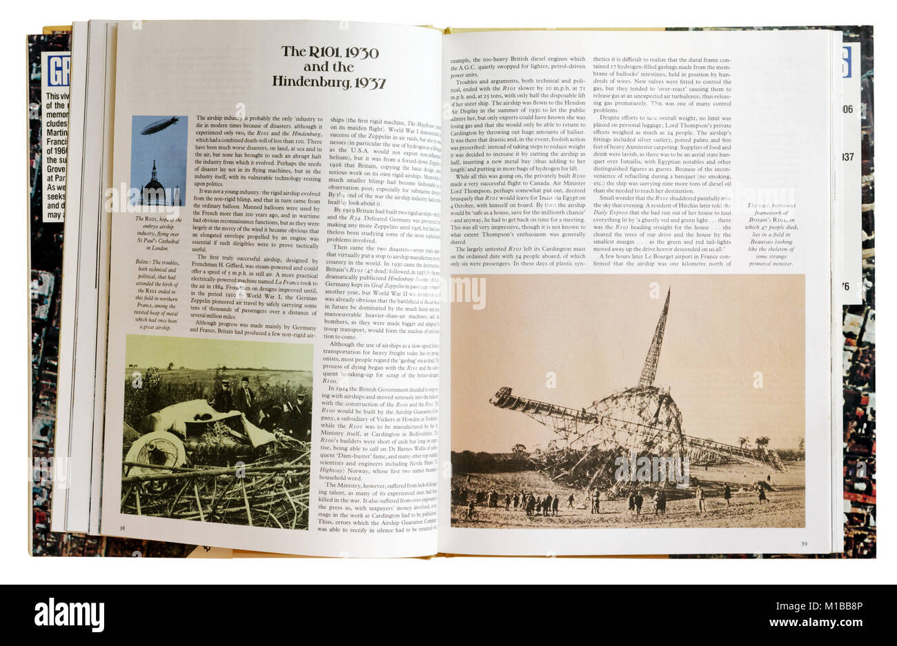 A book of disasters open to the page about the crash of R101 and the Hindenburg Stock Photo