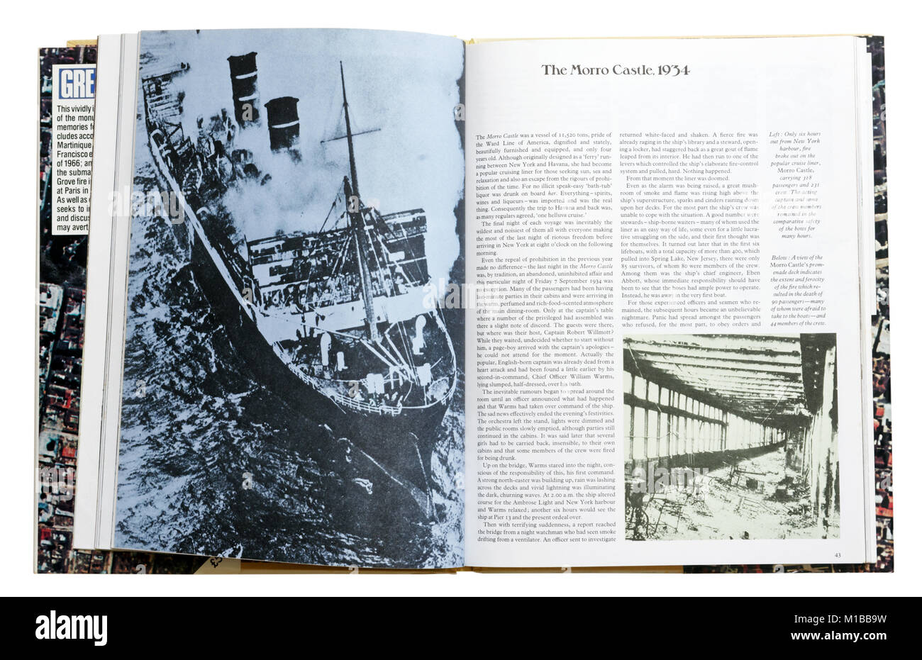 A book of disasters open to the page about the Morro Castle cruise liner fire - Stock Image