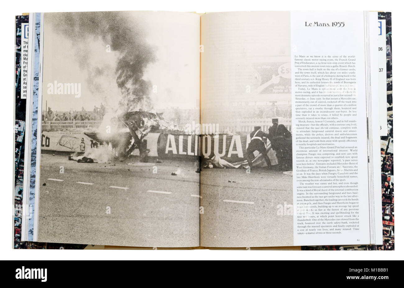 A book of disasters open to the page about the 1955 Le Mans race crash - Stock Image