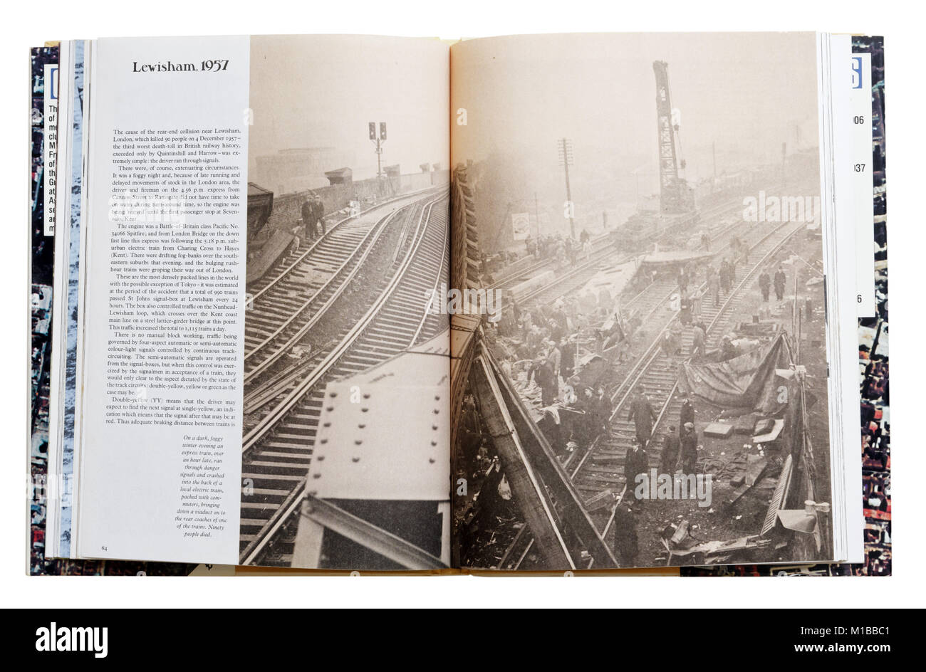 A book of disasters open to the page about the 1957 Lewisham train crash - Stock Image
