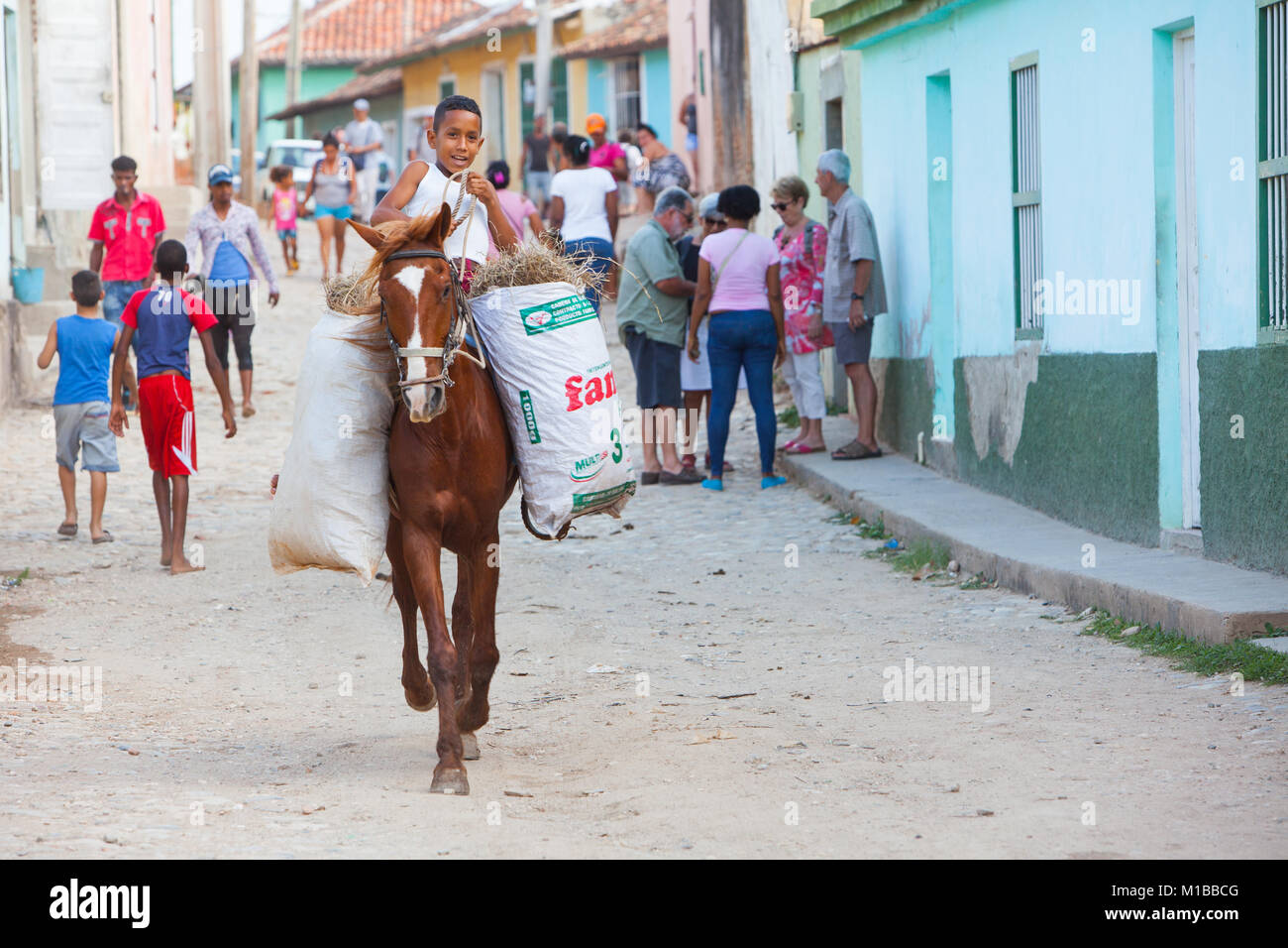 Boy on Horseback - Stock Image