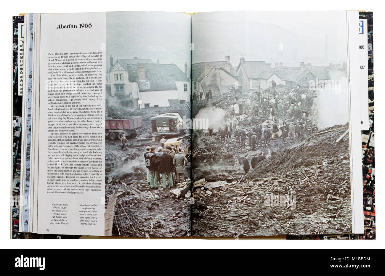 A book of disasters open to the page about the 1966 Aberfan mining disater - Stock Image