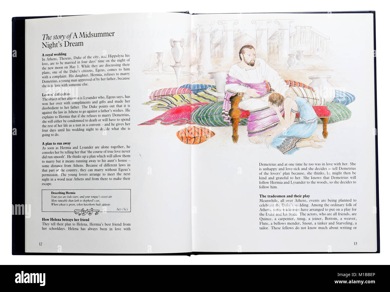 An illustrated book of Shakespeare's plays open at a summary of A Midsummer Night's Dream - Stock Image