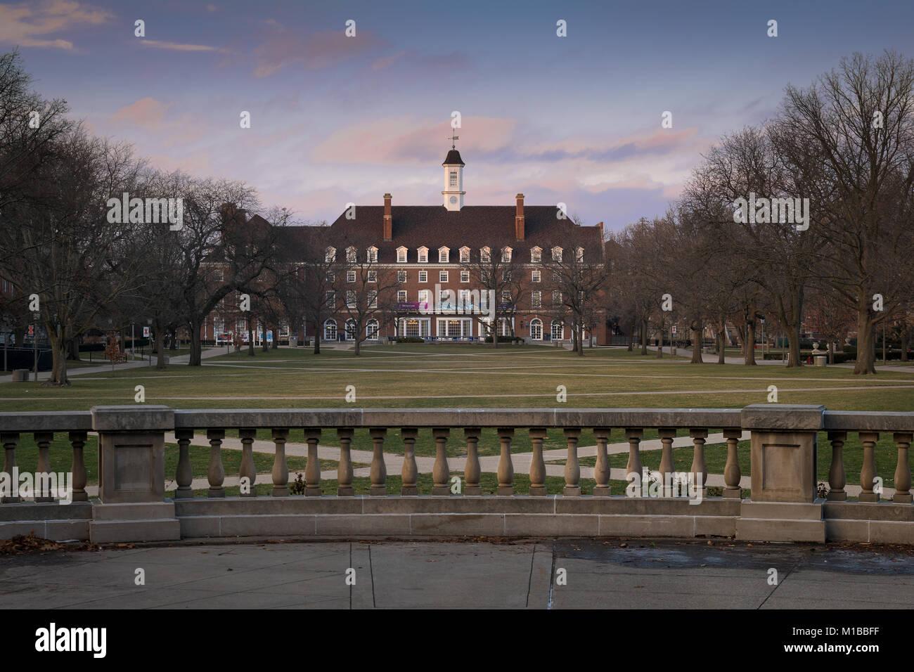 Illini Union and the main Quad on the campus of the University of Illinois at Urbana-Champaign in Urbana, Illinois - Stock Image