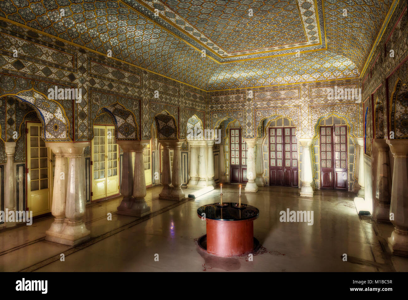 City Palace Jaipur Rajasthan   View Of Royal Palace Glass Room With Antique  Mirror And Glass Decoration