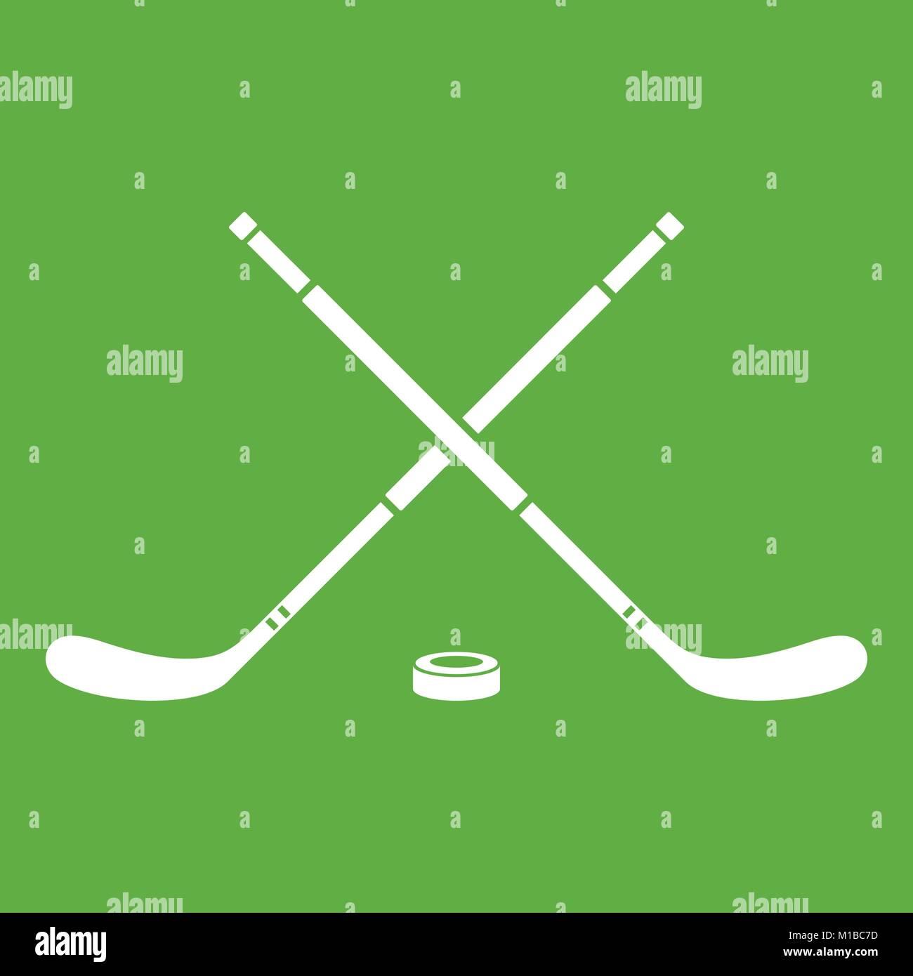 Hockey icon green - Stock Vector