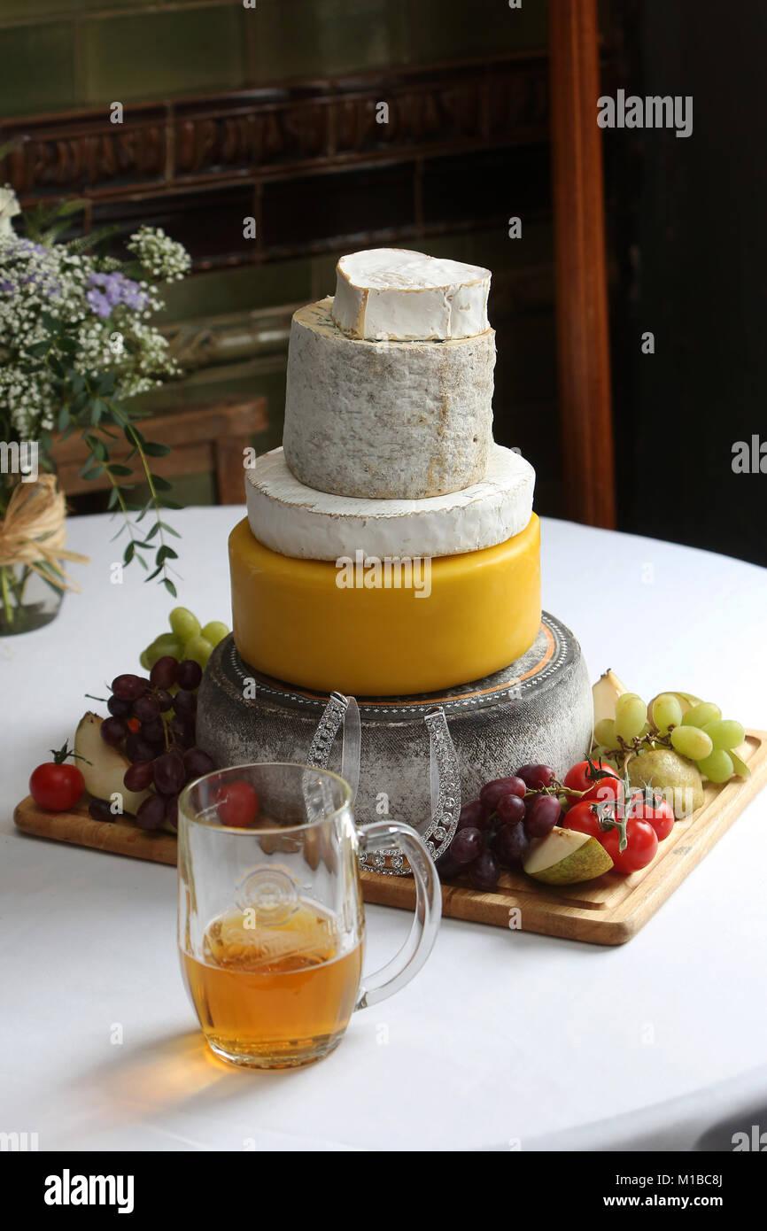 Some wedding cheesecake photographed in Stoke Newington in London, UK. - Stock Image