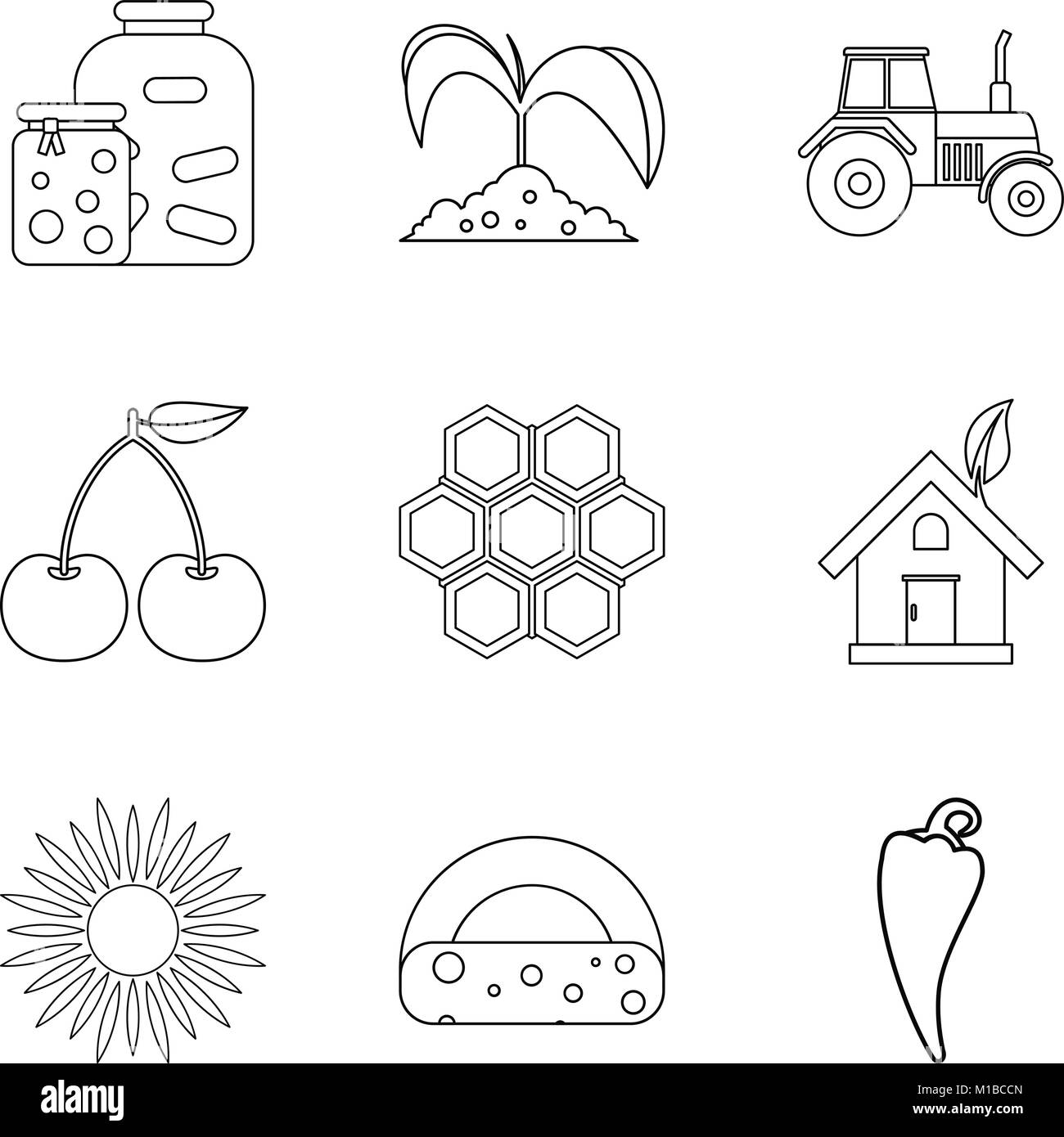 Members of household icons set, outline style - Stock Image