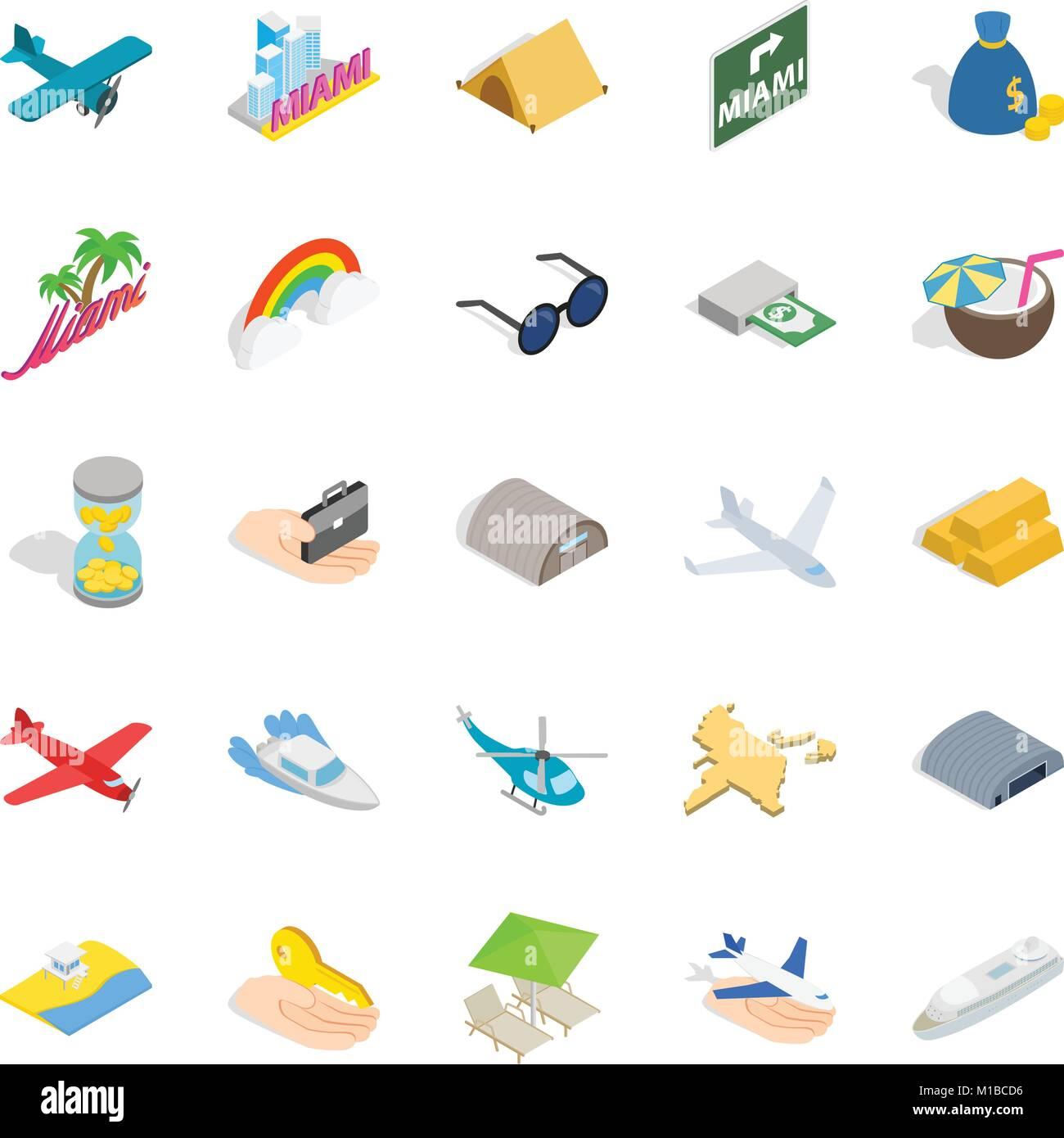Aeronautic icons set, isometric style - Stock Image