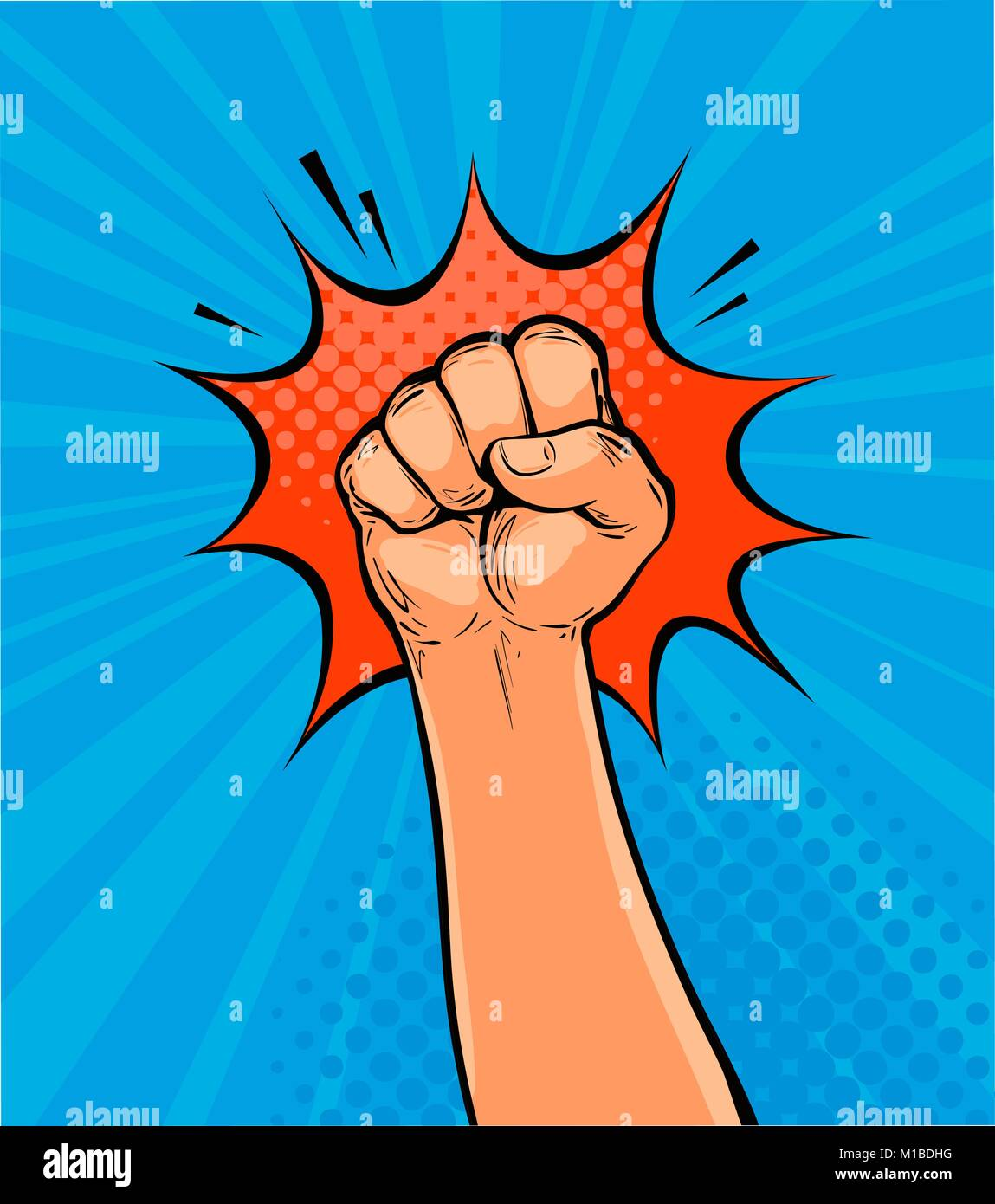 Raised up clenched fist drawn in pop art retro comic style. Cartoon vector illustration - Stock Vector