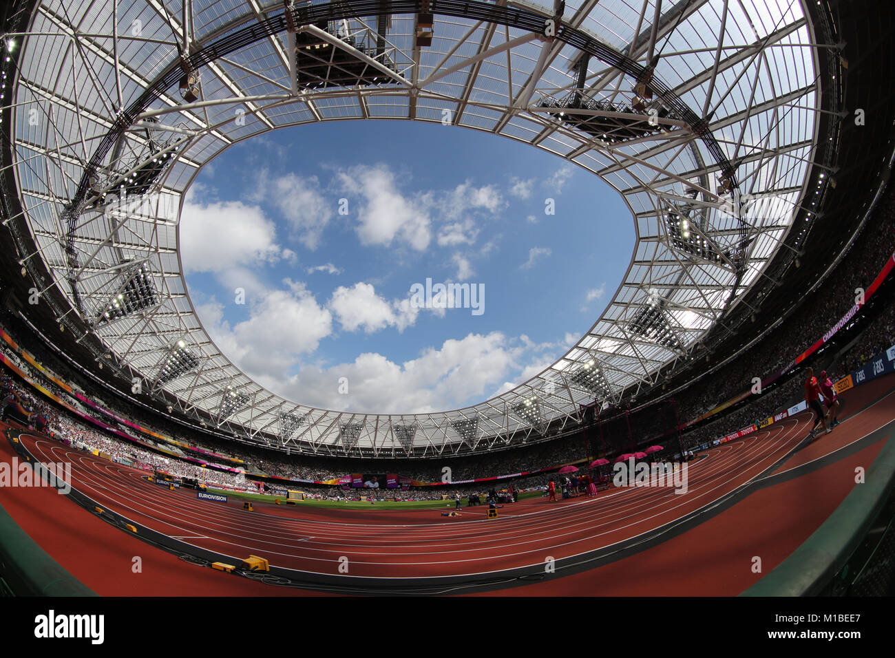 A fish eye view of The London Stadium during the 2017 IAAF World Athletics Championships in London, England - Stock Image
