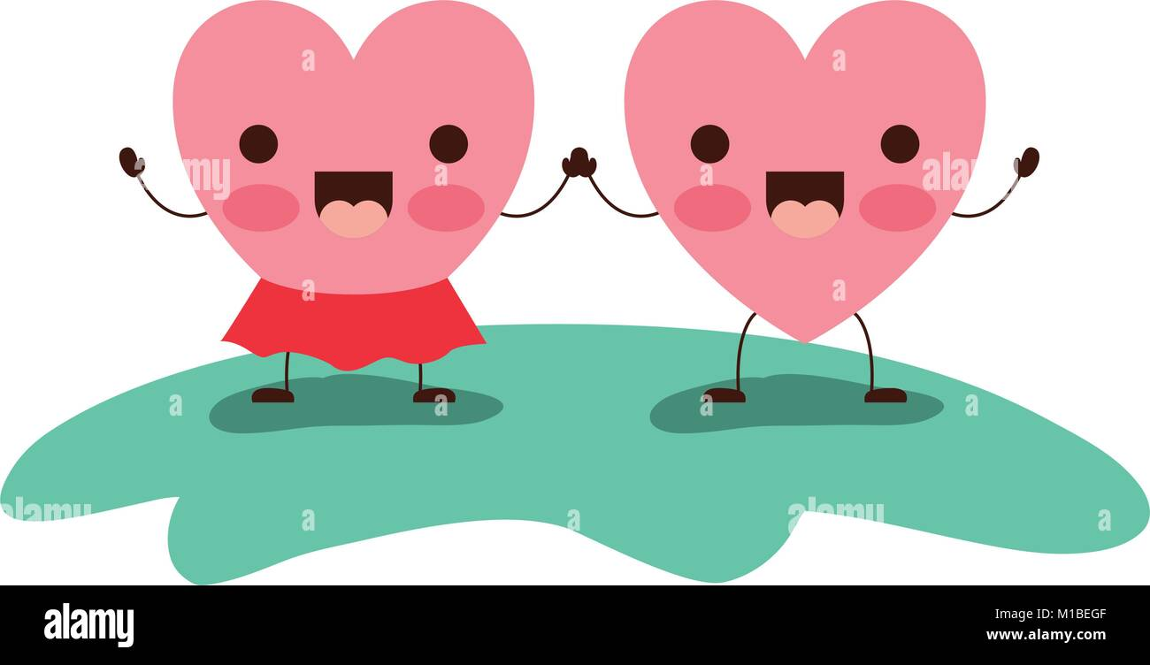 couple heart character kawaii holding hands and her with skirt in jolly expression in colorful silhouette - Stock Image