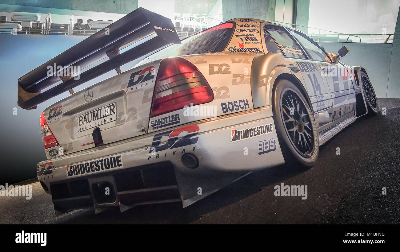 STUTTGART, GERMANY-APRIL 7, 2017: 1995 Mercedes-Benz AMG C-Class DTM Touring Car (W202)  in the Mercedes-Benz Museum. - Stock Image