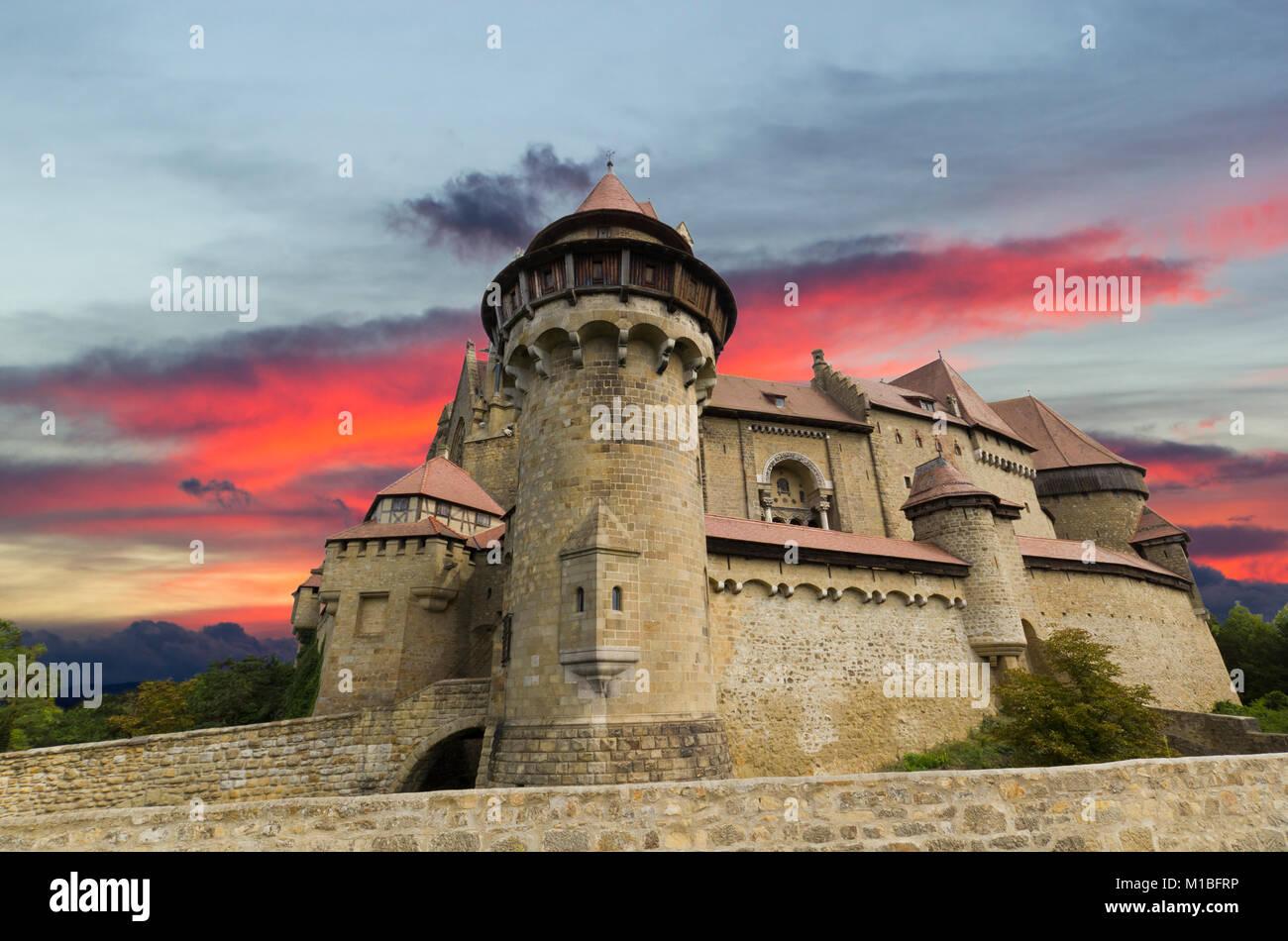 Kreuzenstein Castle from Austria, beautiful view sky - Stock Image