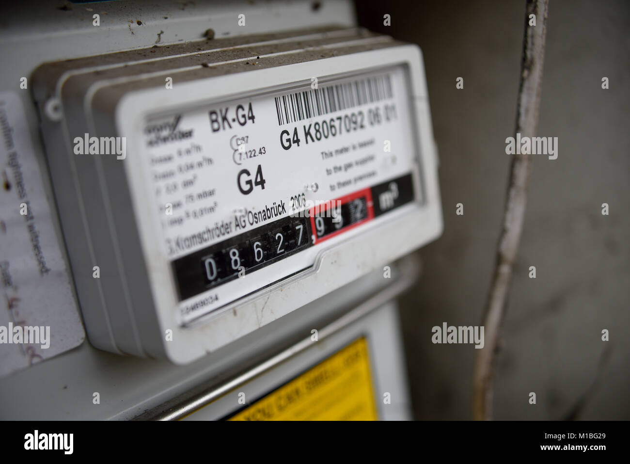 Gas meter in UK showing meter reading  Household domestic supply