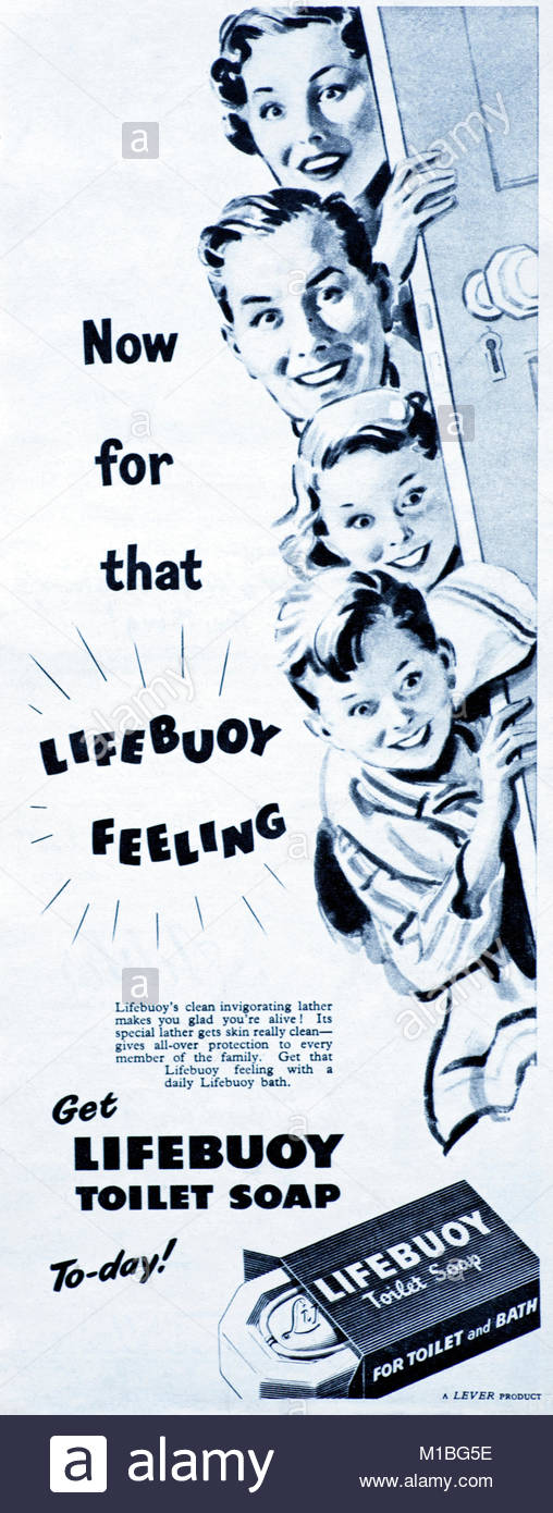 Lifebuoy soap vintage advertising 1950 - Stock Image