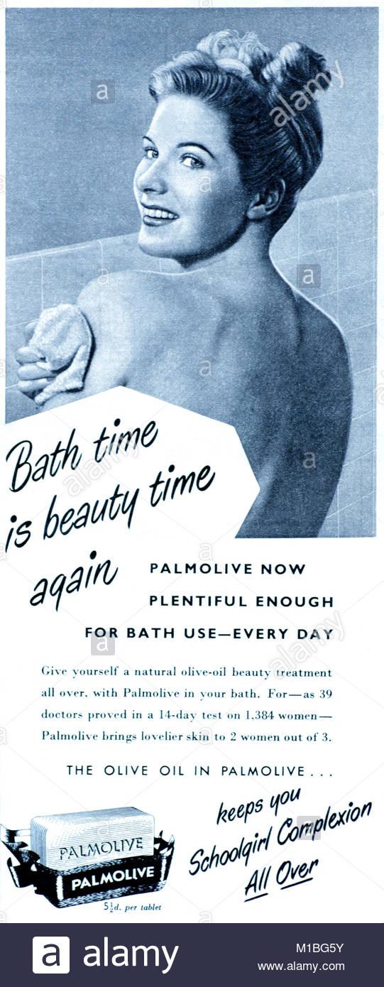 Palmolive vintage advertising 1950s - Stock Image