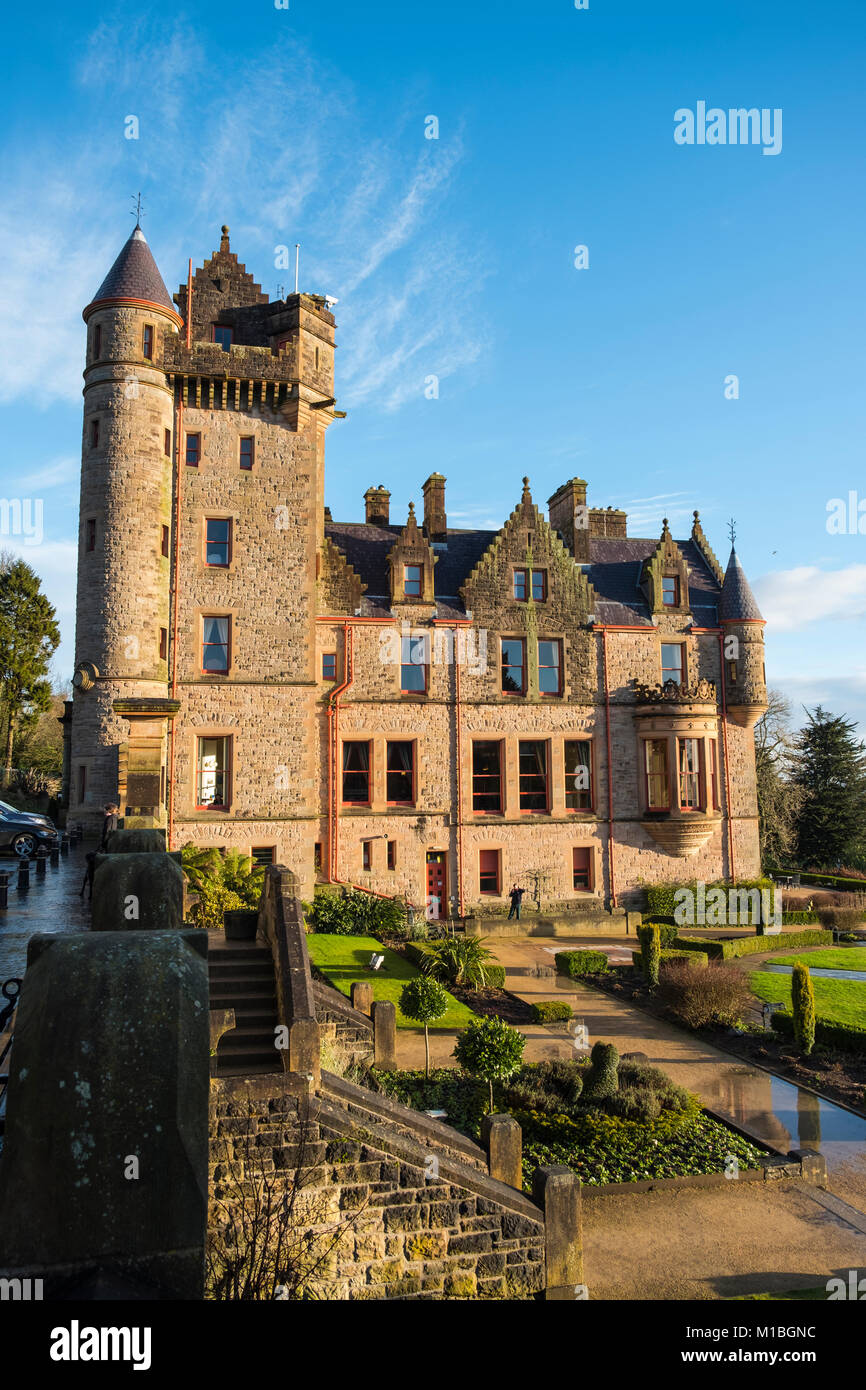 Belfast castle. Tourist attraction on the slopes of Cavehill Country Park in Belfast, Northern Ireland, Belfast - Stock Image