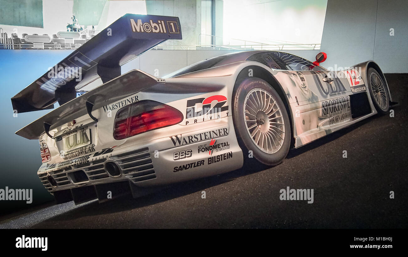 STUTTGART, GERMANY-APRIL 7, 2017: 1997 Mercedes-Benz CLK-GTR GT-Racing Sports Car in the Mercedes-Benz Museum. This - Stock Image