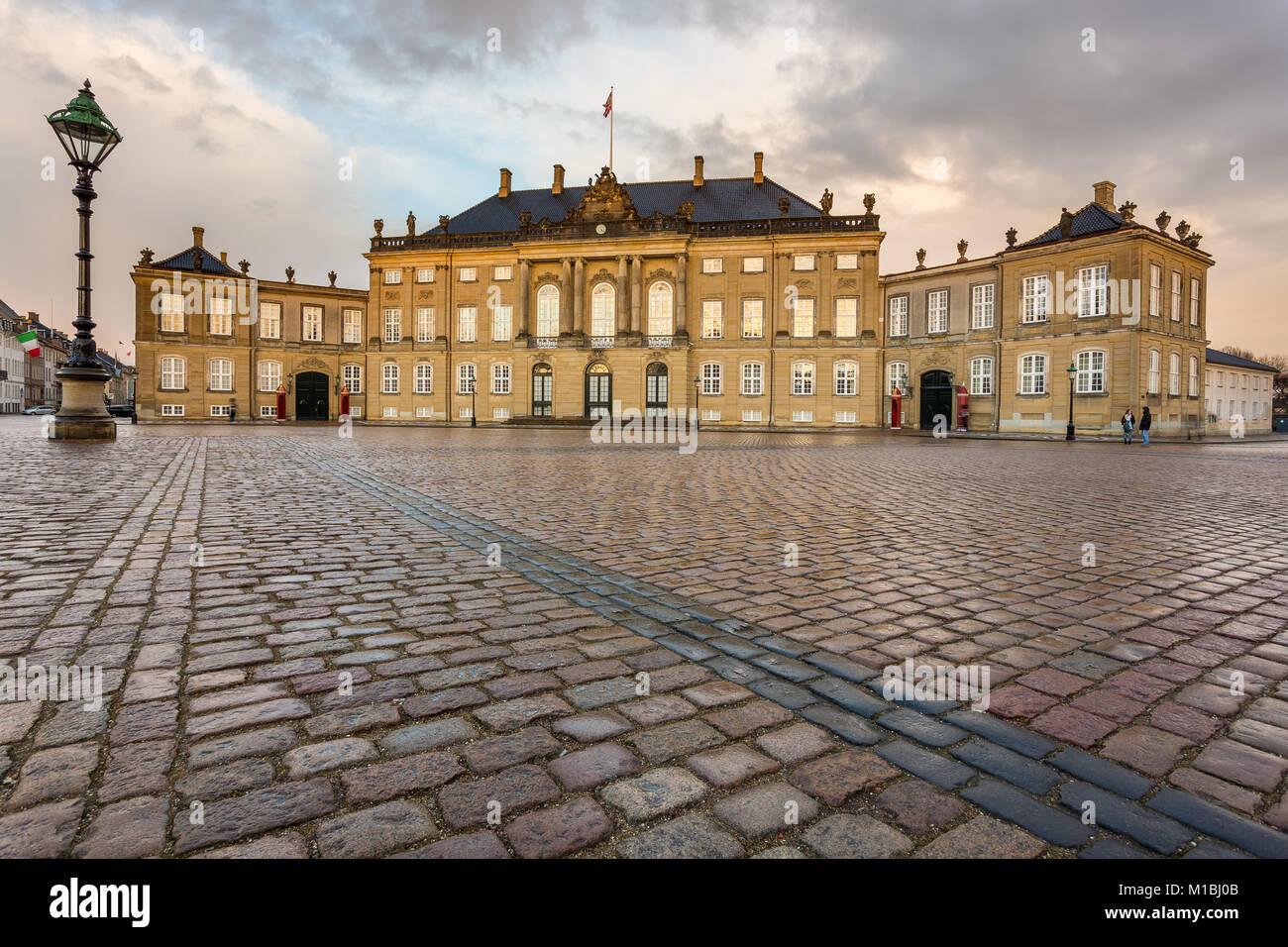 COPENHAGEN, DENMARAK- February 02, 2017: Frederick VIII's Palace in Amalienborg. Home of the Danish royal family. - Stock Image