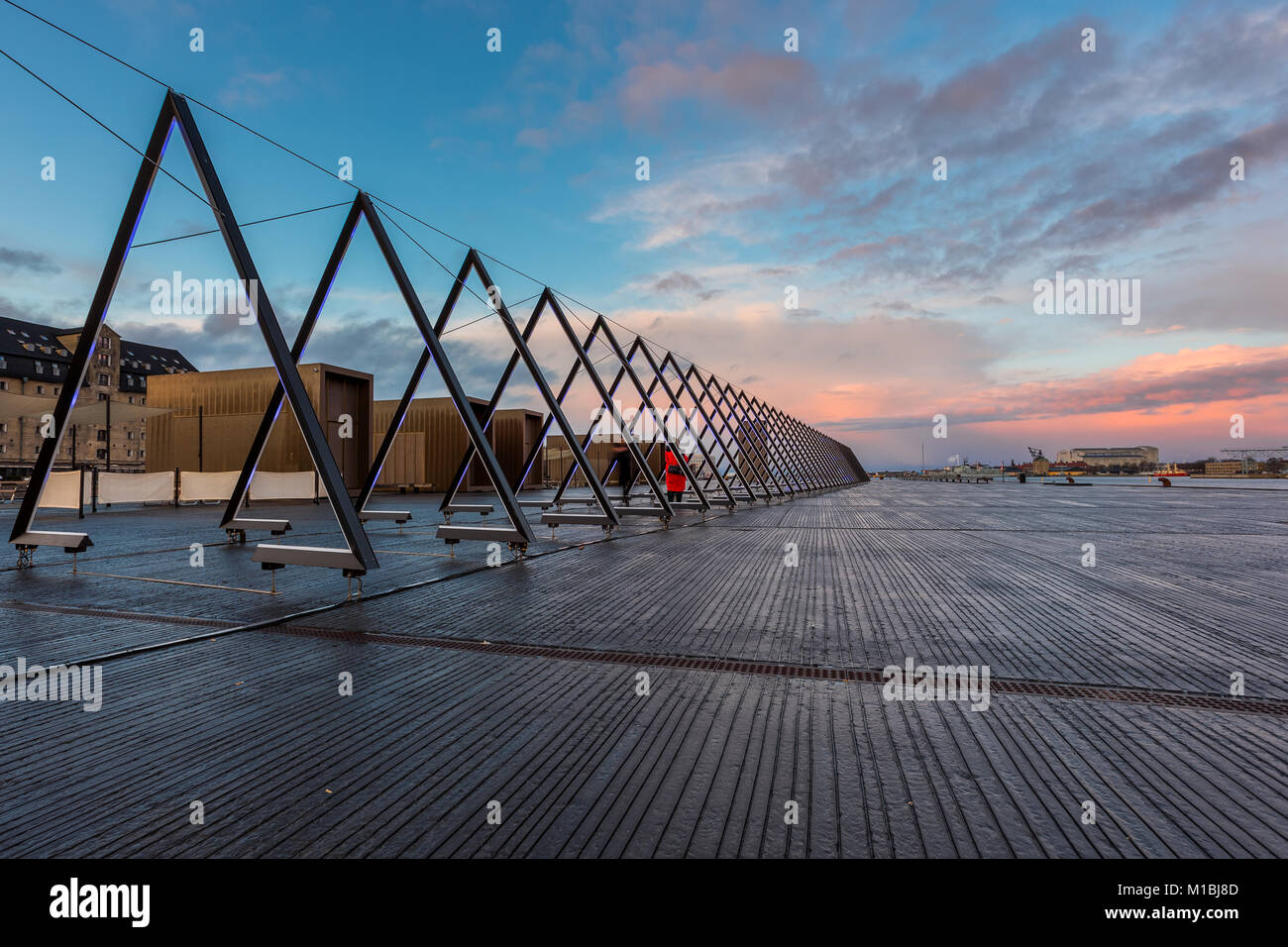 COPENHAGEN, DENMARK - FEBRUARY 28, 2017: The Wave, an interactive sound- and light installation, is spanning 80 - Stock Image