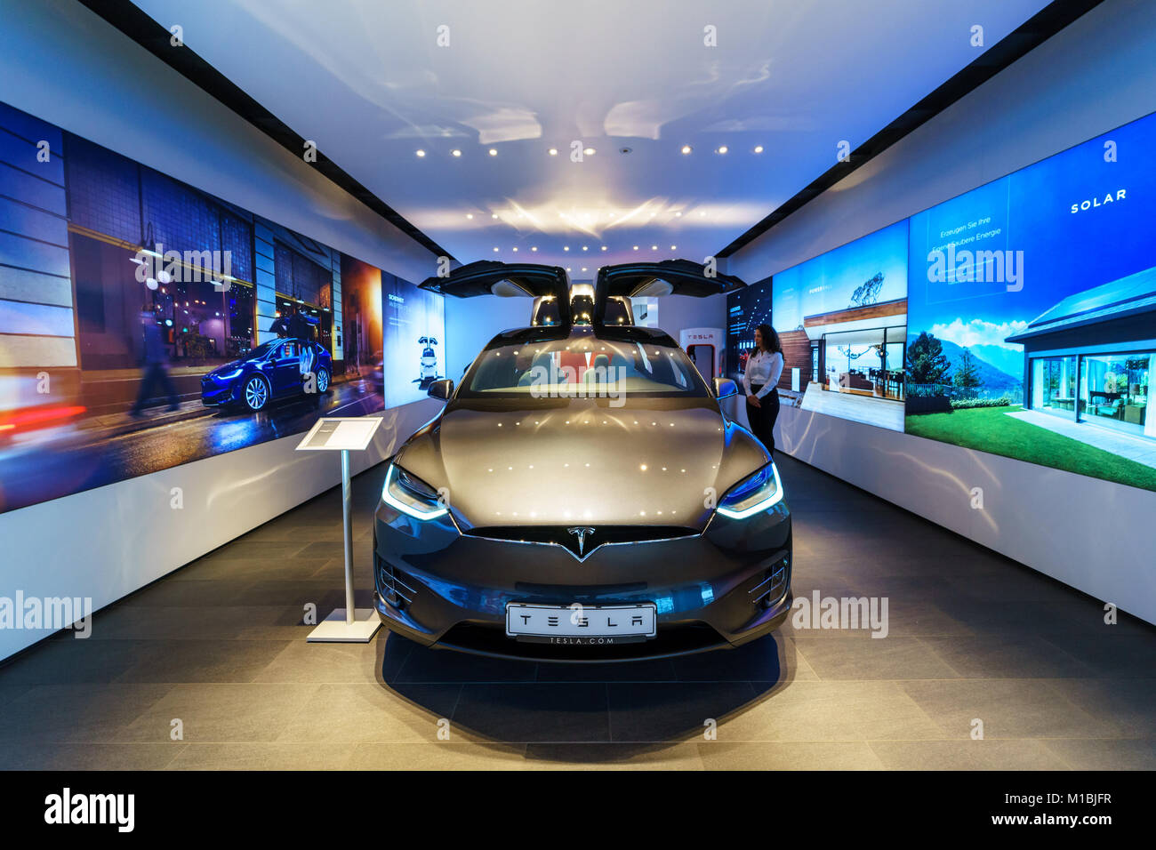 BERLIN - DECEMBER 21, 2017: Showroom. The full-sized, all-electric, luxury, crossover SUV Tesla Model X. Produced - Stock Image