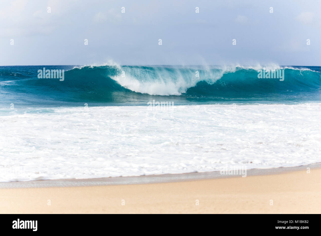 nearshore barrels of the Banzai Pipeline, Northshore, Hawaii - Stock Image