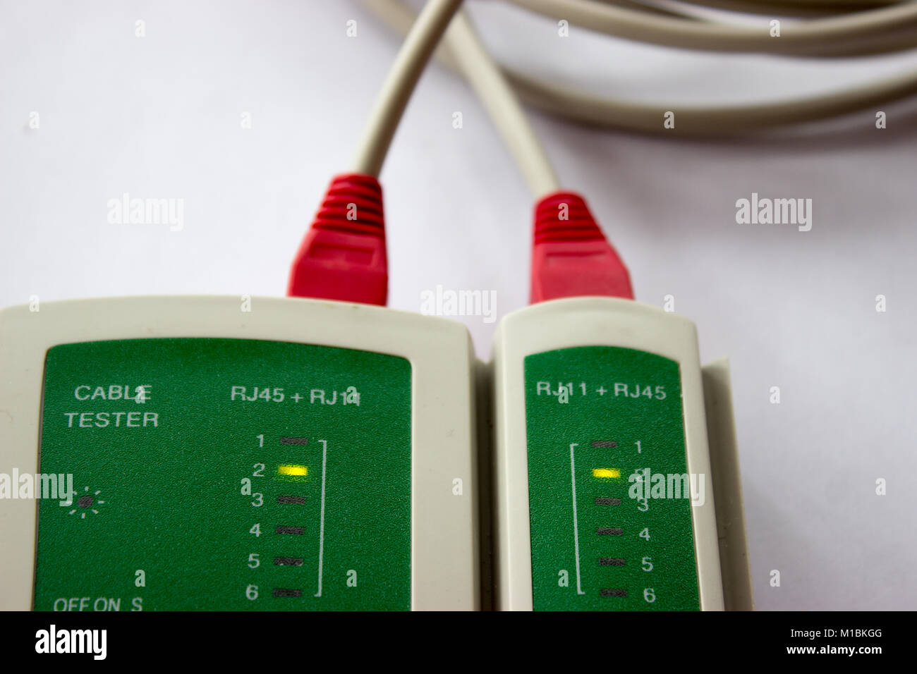Network Cabling Stock Photos Images Alamy Rf Cable Tester Lan On The White Background Networking Tool Image