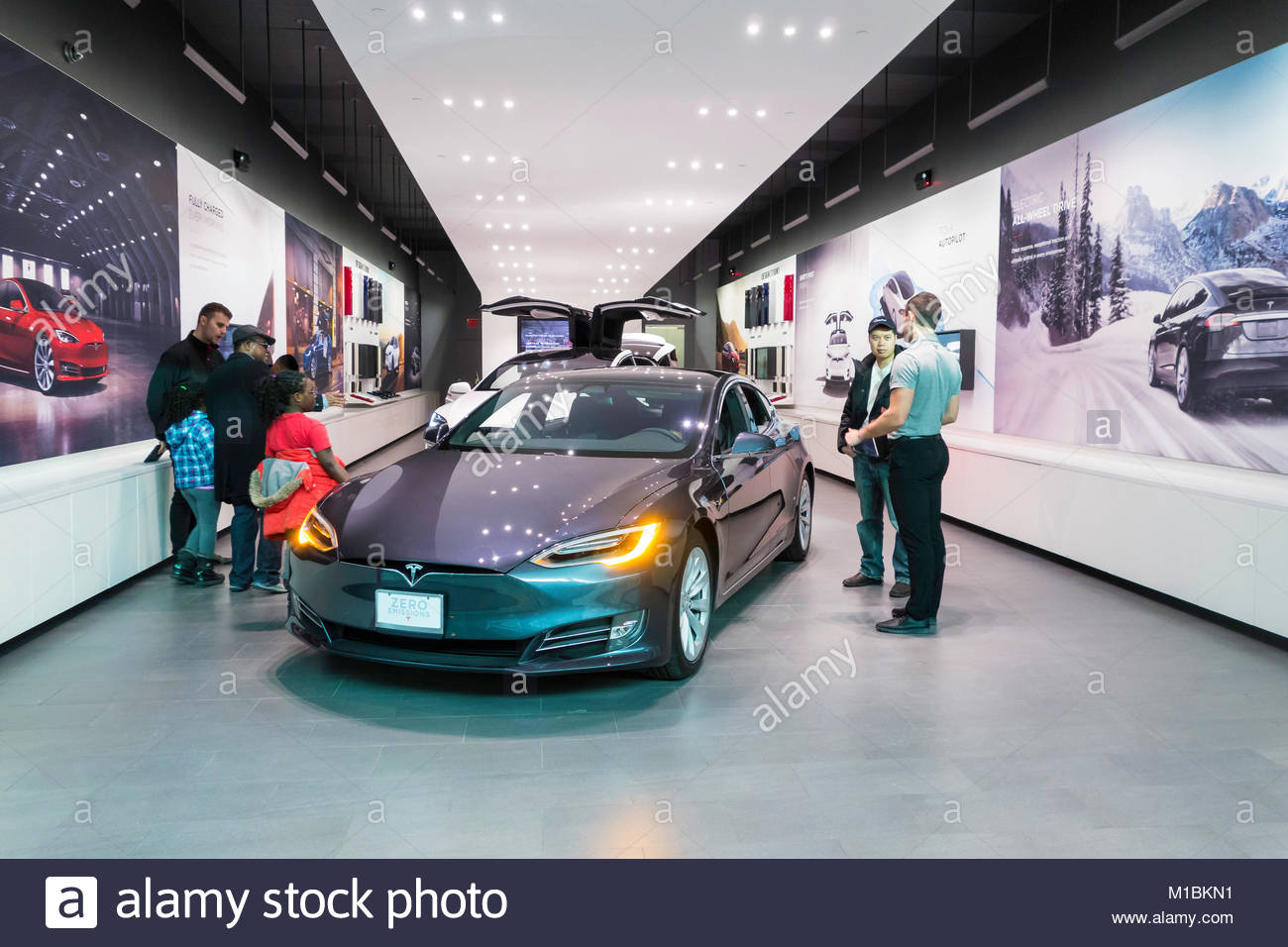 Tesla electric vehicle store or gallery at Yorkdale Shopping Center a major shopping mall in Toronto Ontario Canada - Stock Image