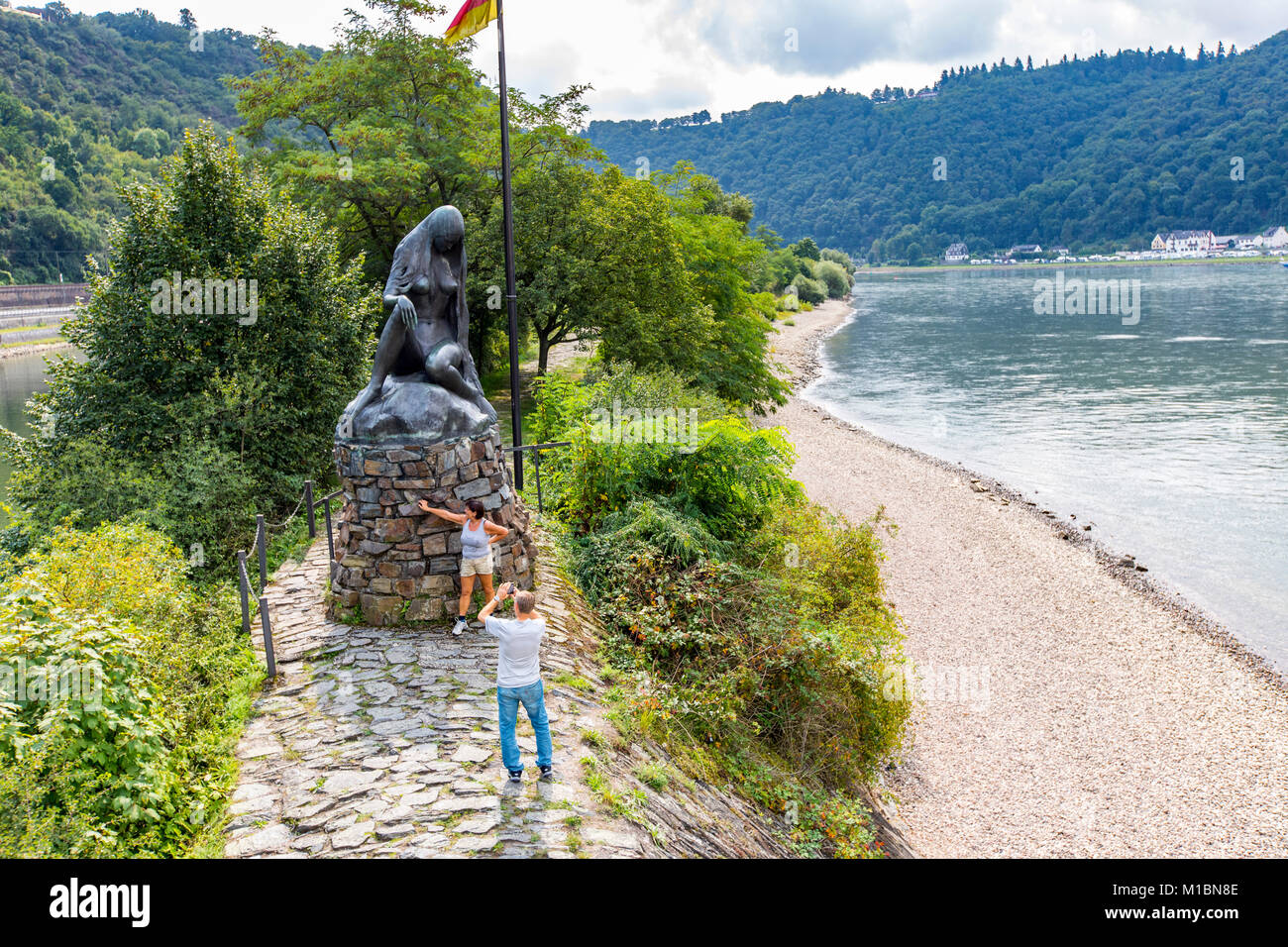 Loreley figure, Rheingau, UNESCO World Heritage Upper Middle Rhine Valley, lookout point on the rock, near St. Goar, Stock Photo