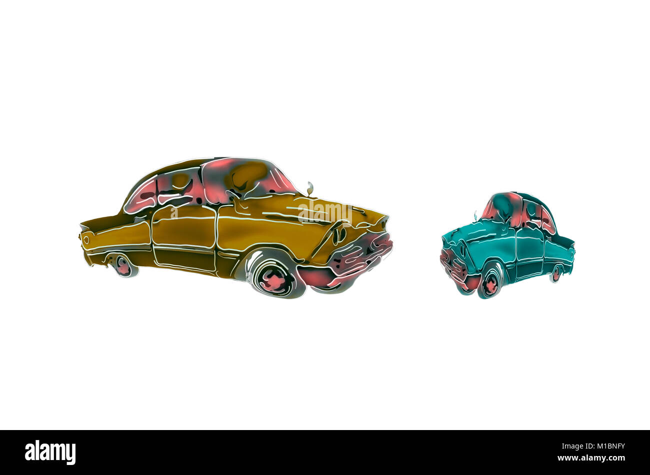 Cartoon illustration of funny, curved, red, green, yellow cars, associated with communication - Stock Image