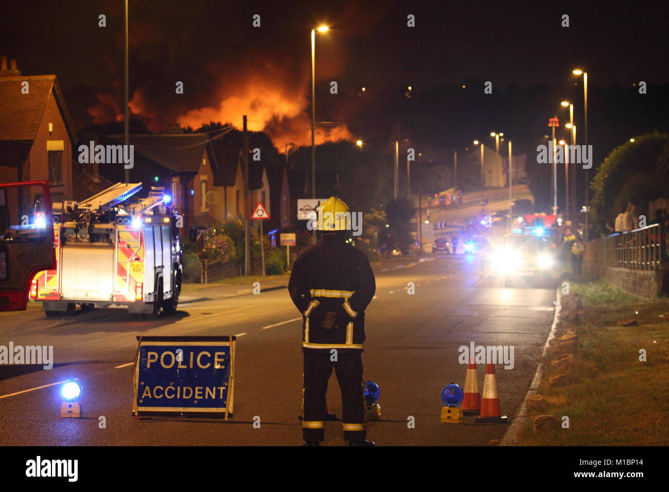 Recycling Plant Fire In Garforth Stock Photo