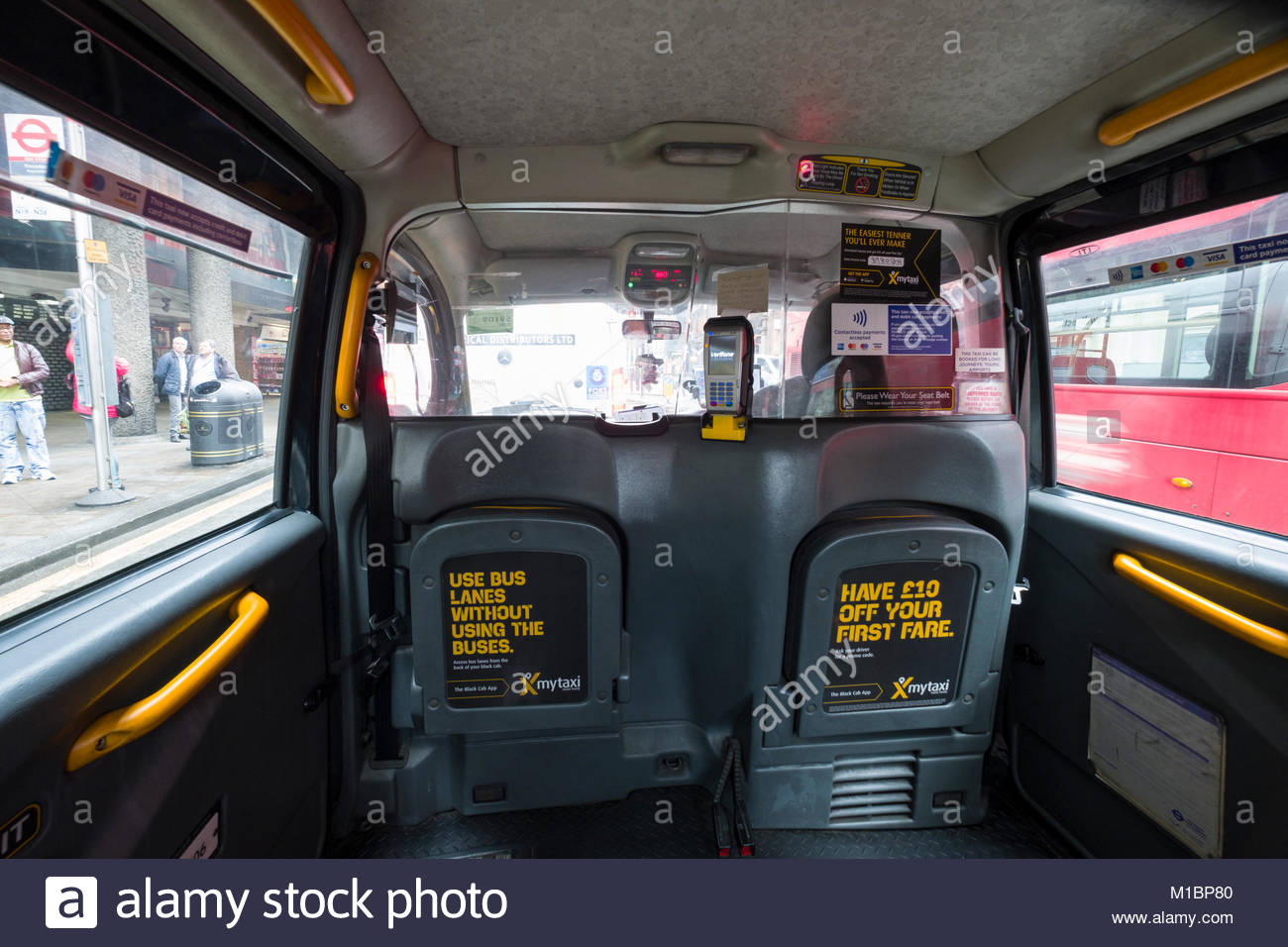 Inside passenger compartment of a hackney carriage, City of Westminster, London, England, United Kingdom - Stock Image