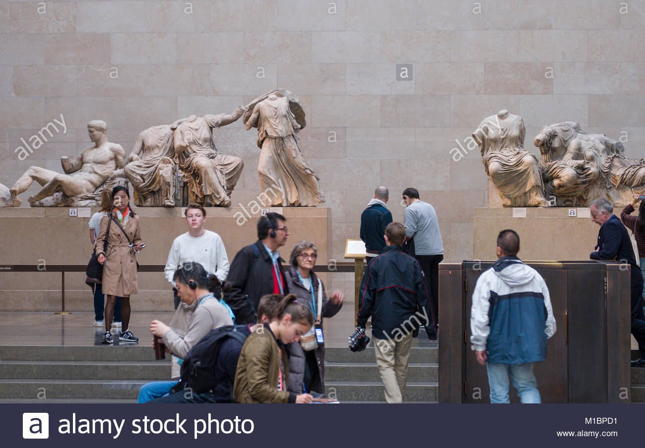 Parthenon metopes East pediment, room 18 in the British Museum, Camden, London, England, United Kingdom - Stock Image
