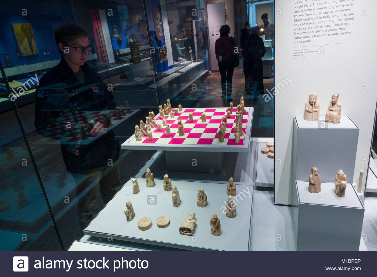 The Lewis Chessman in the Medieval Europe, Room 40, British Museum, Camden, London, England, United Kingdom - Stock Image
