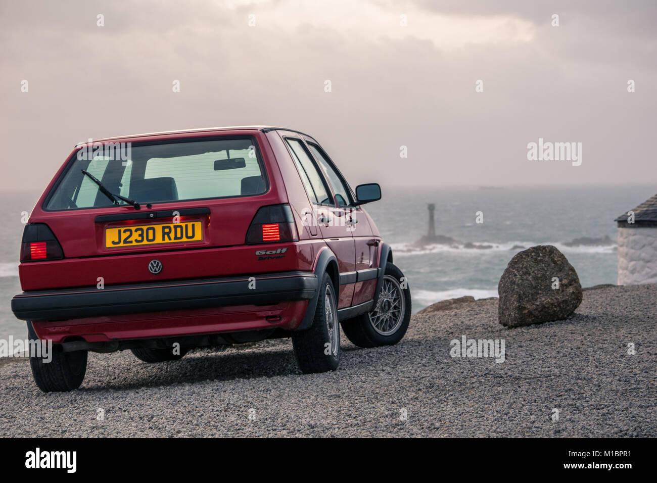 VW Golf MKII ShowCar Land's End Cornwall - Stock Image
