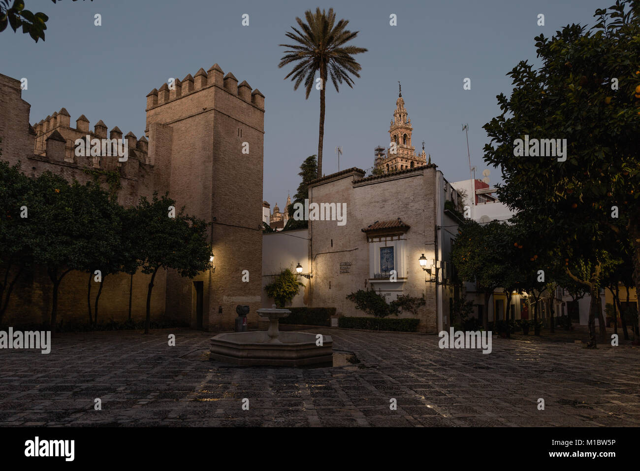 Walls of the Real Alcazar, Seville, Spain. - Stock Image