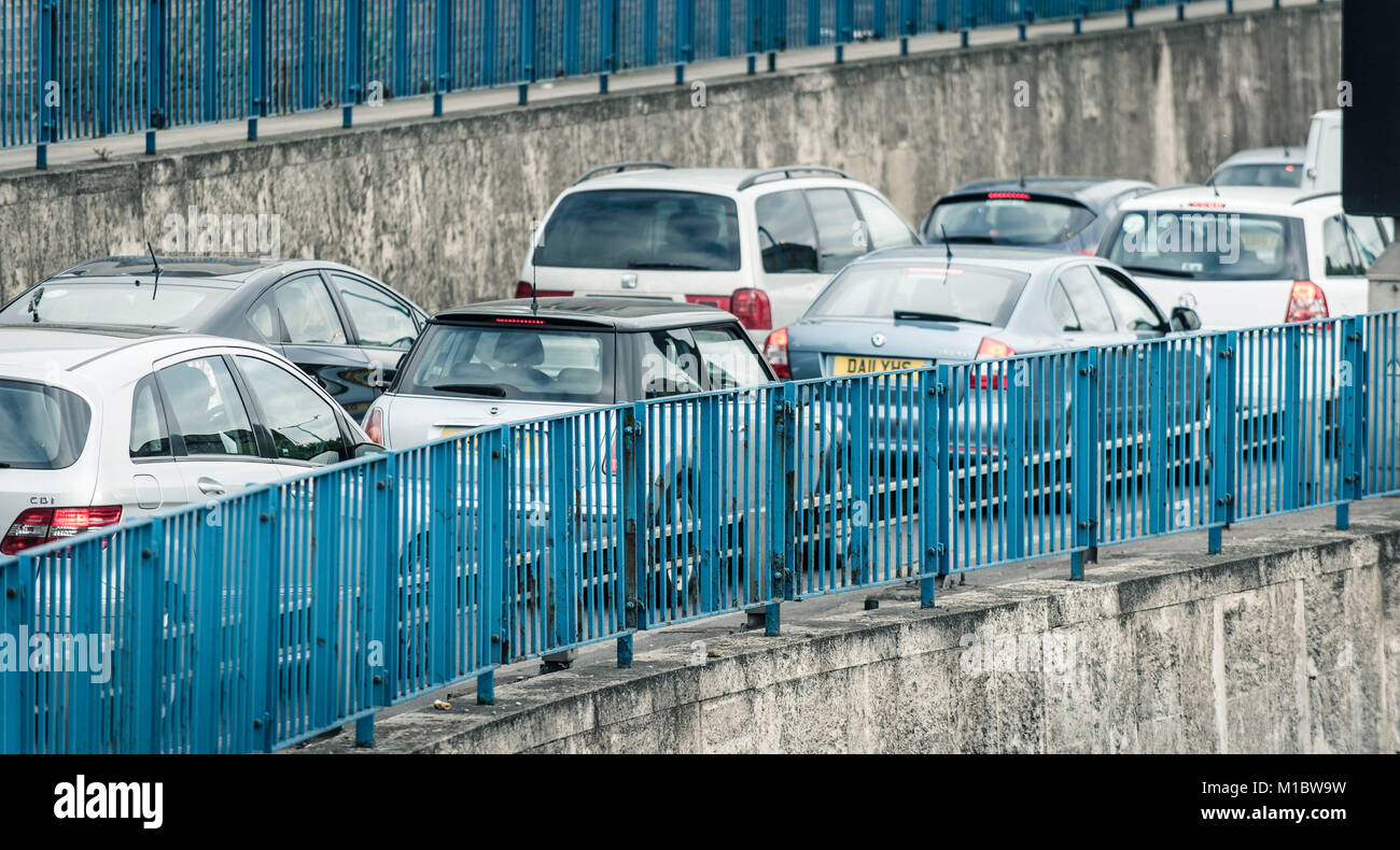 Road traffic congestion at Blackwall Tunnel in London - Stock Image