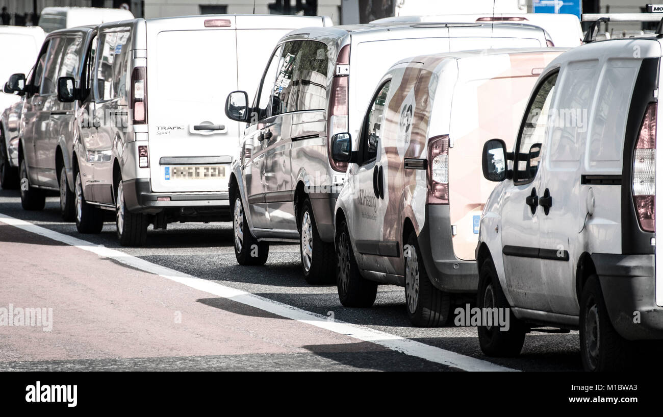 Road traffic congestion at Vauxhall in London - Stock Image