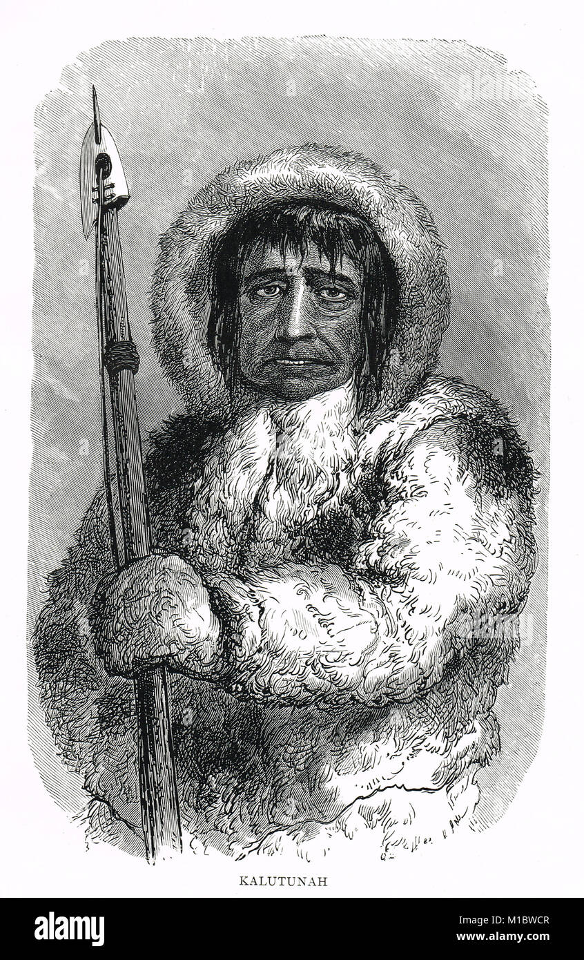 Kalutunah, Chief of the Etah Eskimos in 1855, guide to The Second Grinnell Expedition of 1853, Led by Dr. Elisha - Stock Image