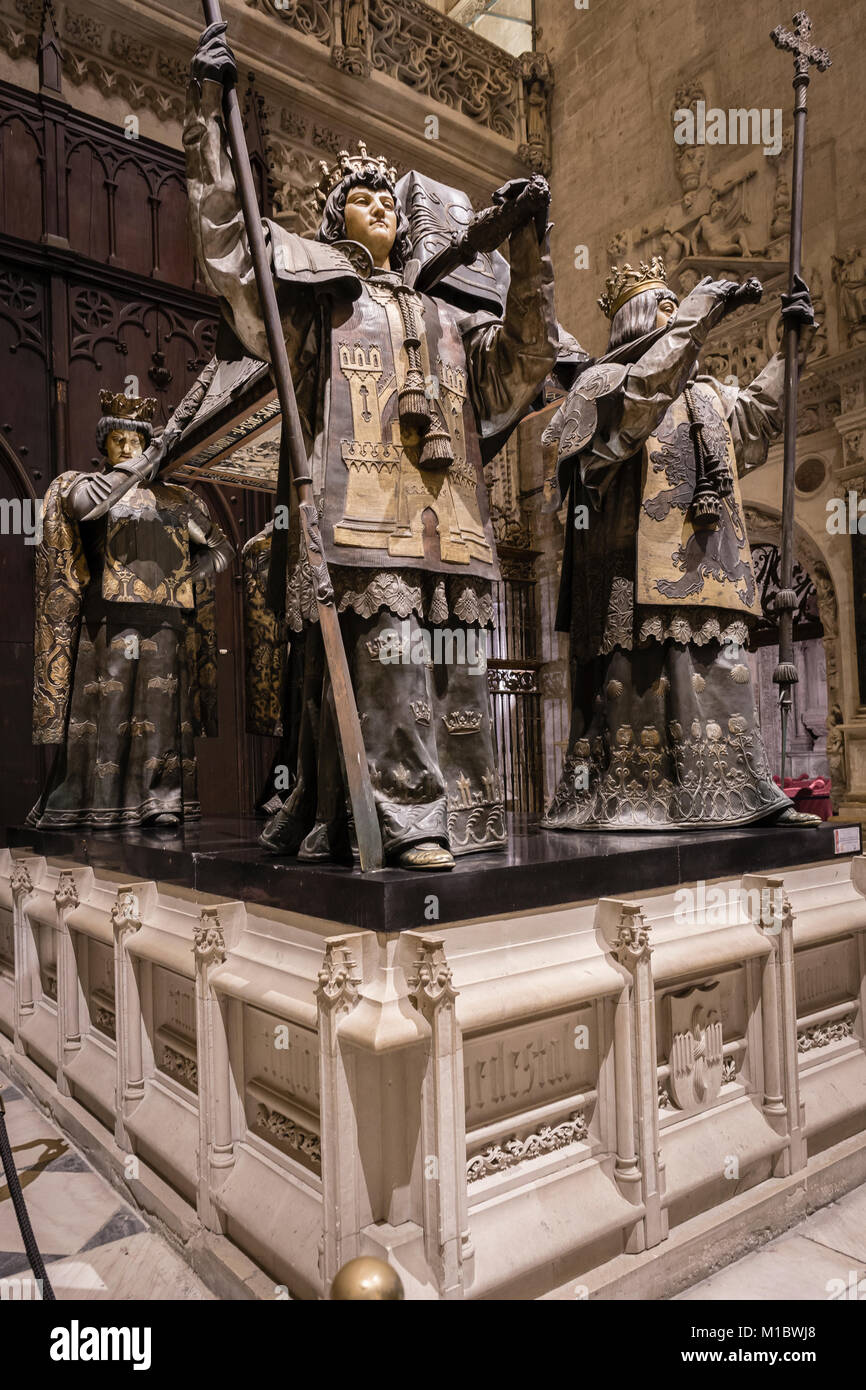 Tomb of Christopher Columbus in the Cathedral of Seville, Andalusia, Spain. - Stock Image