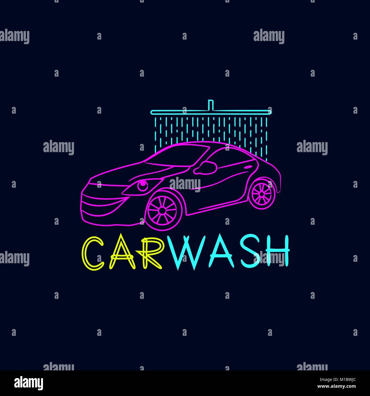 Car Wash Logo On A Dark Background Stock Vector Art Illustration