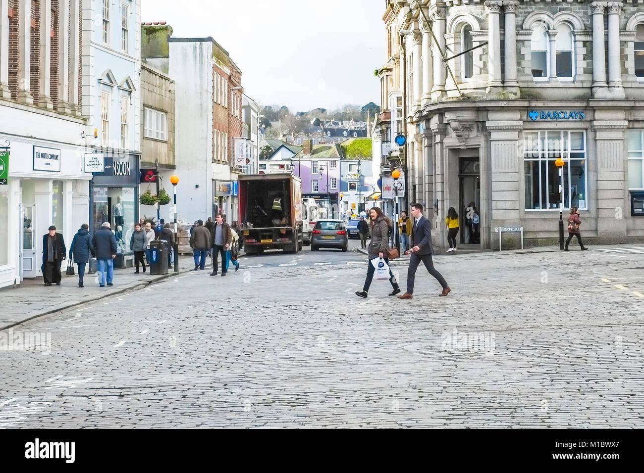 A cobblestone street in Truro City Centre in Cornwall. - Stock Image