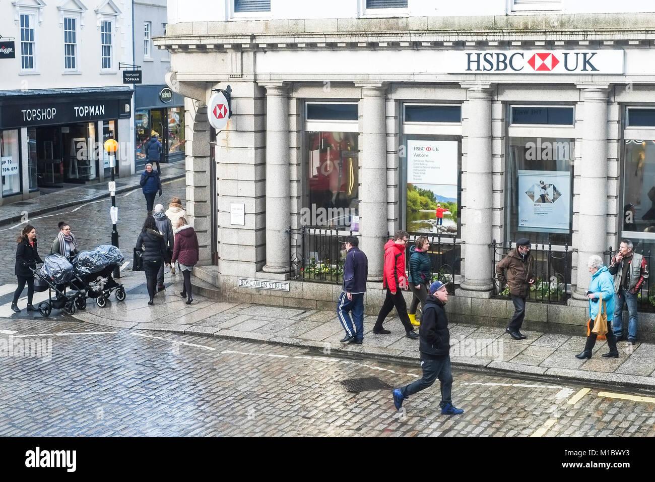 Pedestrians in Boscawn Street in Truro City centre Conrwall. - Stock Image