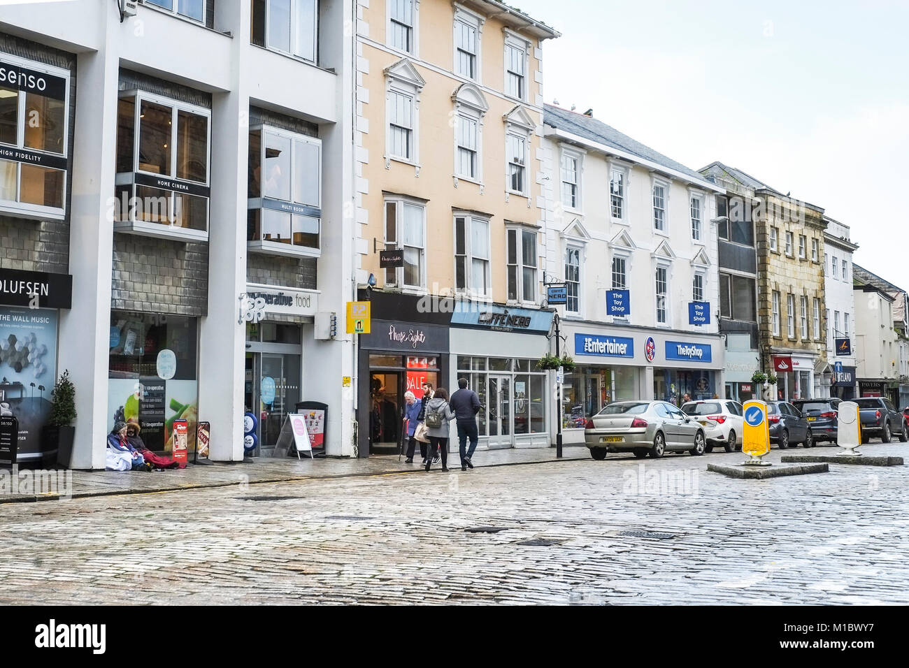 Boscawen Street in Truro City Centre Cornwall. - Stock Image