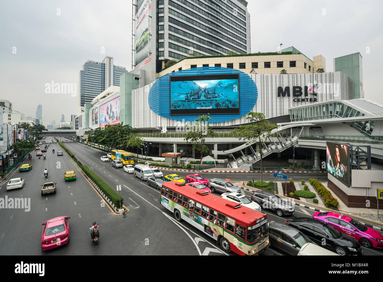 a view of the flyovers in Siam Square in Bangkok, Thailand - Stock Image