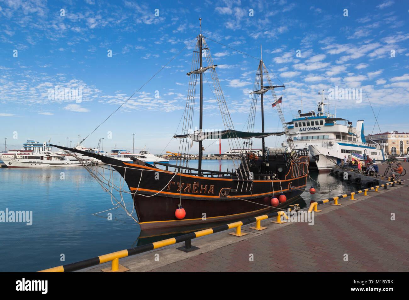 Sochi, Krasnodar region, Russia - July 10, 2016: Sailfish 'Reveller' at berth Sochi seaport - Stock Image