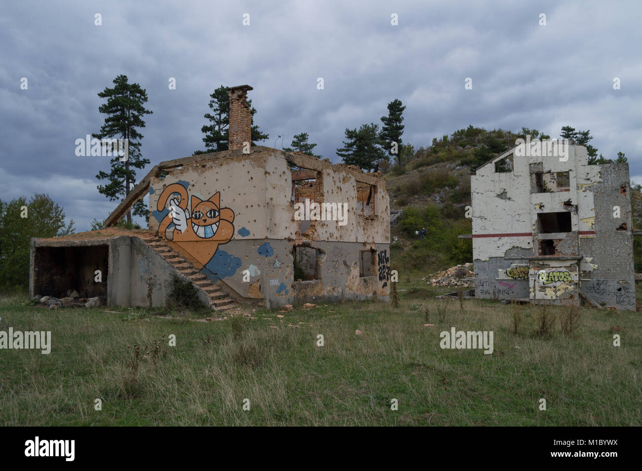 Abandoned Houses with Bullet Holes in Sarajevo, Bosnia and Herzegovina - Stock Image