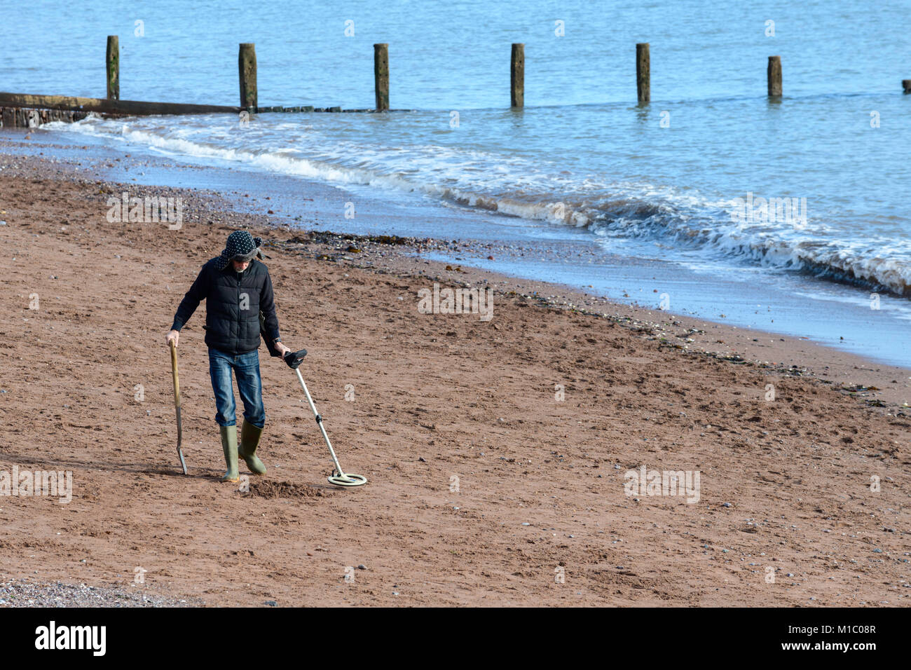 Jew Detector: Man Metal Detector On Beach Stock Photos & Man Metal