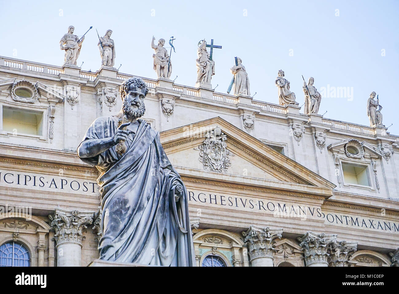 The Exterior of St Peter's Basilica in Vatican City just outside of Rome, Italy Stock Photo